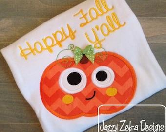 Funny Pumpkin Applique Design