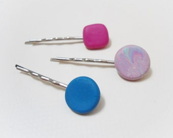 FIMO bobby pins blue and pink polymer clay, Set of 3 geometric hair clips