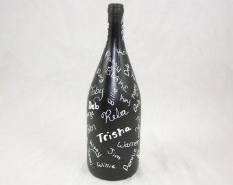 Guest Book Bottle, Wedding Guest Book, Chalkboard Guest Wine Bottle, Upcycled Wine Bottle
