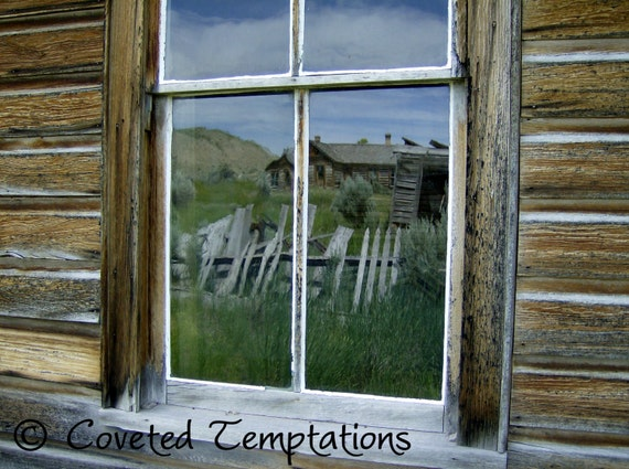 Bannack Montana Historic Old West Ghost Town Rustic Window Reflection 8x10 fine art digital photography image glossy print