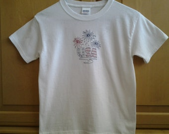 Red White and Blue T-Shirt, 4th of July T-Shirt Fireworks T-Shirt USA T-Shirt Patriotic T-Shirt Children's T-Shirt - White TShirtBlue TShirt