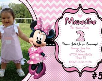Minnie Mouse Invitation - CHEVRON Pink Photo invite, Minnie Birthday invitation, Personalized Digital file - Minnie Mouse Birthday Party