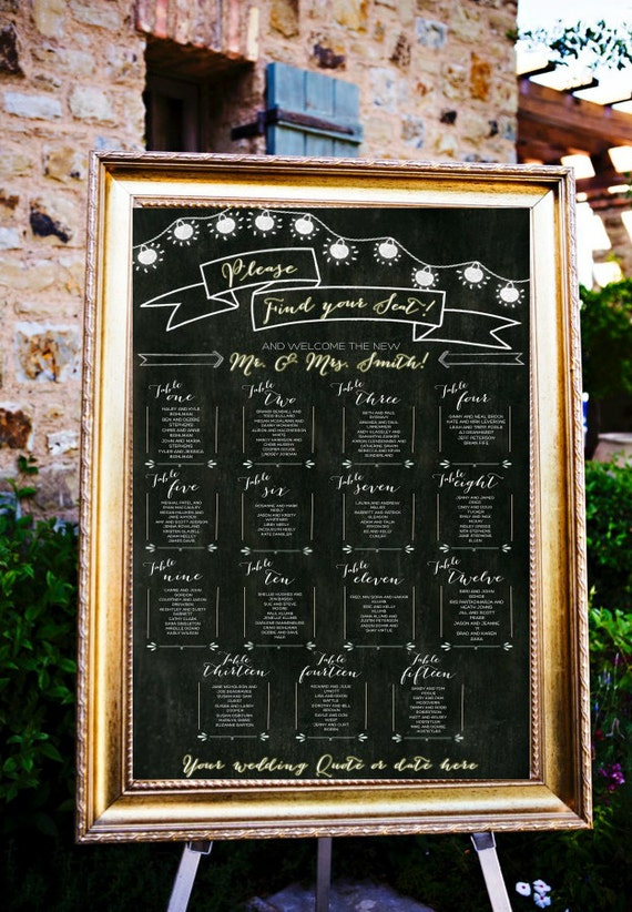 Chalkboard Wedding Table Assignments Board Wedding Seating