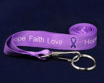 Purple Ribbon Lanyard - Hope Faith Love (RE-LAN-4H)