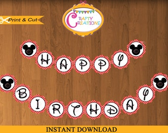 Red Disney Mickey Mouse Printable Happy Birthday Banner -Mickey Mouse Party Decor - PRINTABLE -  INSTANT DOWNLOAD - Crafty Creations