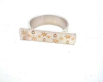 Sterling Silver Stamped T Ring -  Fine Art Jewelry