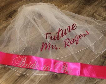 bachelorette sash and veil set