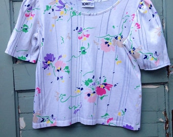 Perfect Vintage Thin Cotton Abstract Floral Top by Koret