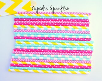 Cupcake Sprinkles -Decorative Paper Straws for Parties and Holidays