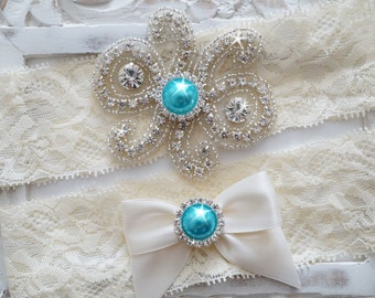 Custom Bridal Garter Set, Vintage Wedding, Crystal Garter Set, Stretch Lace Garter - Style 500A