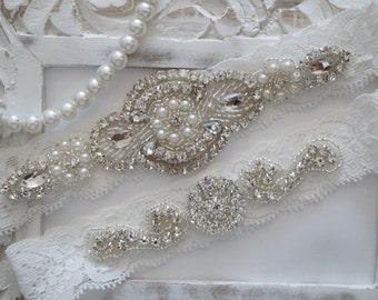 Wedding Garter Set, Bridal Garter Set, Vintage Wedding, Ivory Lace Garter, Crystal Garter Set  - Style 600