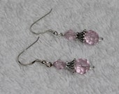Pink  Crystal with .925 Sterling Silver Dangle Earrings D14