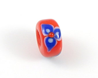 Orange and Blue Glass Lampwork Large Hole Bead - Handcrafted