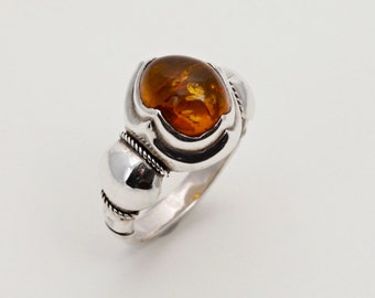 Amber 4 - Ring - Sterling Silver - Amber - Size 9.5
