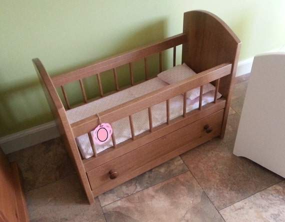 American reborn doll crib trundle bed wood by Wooden baby doll furniture