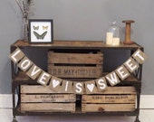 LOVE IS SWEET Hessian / Burlap Bunting banner