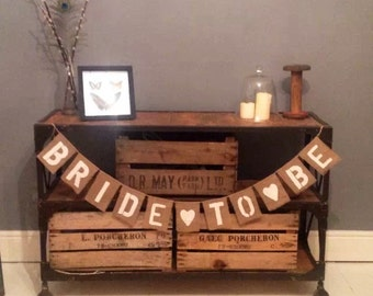 BRIDE TO BE Hessian / Burlap Bunting banner