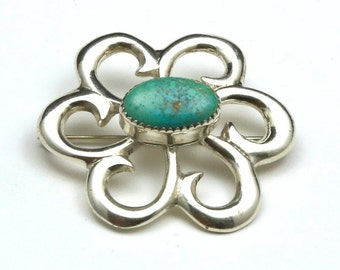 Vintage Navajo Sterling Silver Sandcast Turquoise Swirl Flower Brooch Pin Signed Native American Southwestern Jewelry