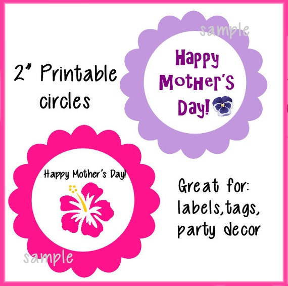 items similar to printable mother 39 s day hibiscus pansy 2 circles labels stickers cupcake. Black Bedroom Furniture Sets. Home Design Ideas