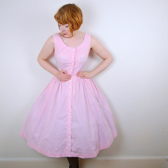 Pink GINGHAM Dorothy dress 50s 60s vintage BUTTON THROUGH bardot sun dress vintage rockabilly pinup picnic full skirt lolita check Uk10 / S