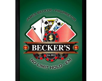 Personalized Bar Sign - Personalized Pub Sign - Poker Sign - GC268 POKER