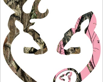 "11"" Browning style camo and pink camo pregnant heart shaped with baby doe decal sticker"