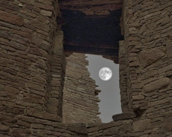 Chaco Canyon Window with Full Moon- 8 x 12 - High Quality Photographic Print