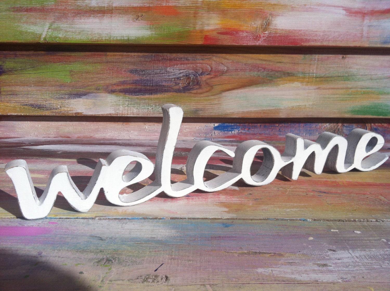 Welcome sign front door sign wood script sign home decor - Wooden door signs for home ...