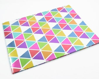 TRIANGLE WRAPPING PAPER - Metallic Geometric Triangles Folded Wrapping Paper (49.5cm x 70cm)