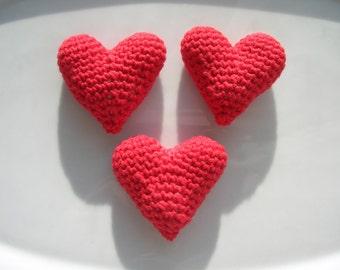 3 Crochet hearts