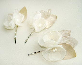 Ivory Wedding Hair Clips,  Champagne Bridal Hair Flower , Lace Rustic  Bobby Pins