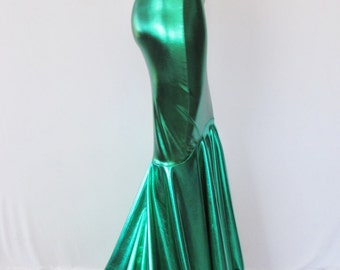 Mermaid  Skirt Fish tail costume, Stretch Lycra, Fairy Circle skirt, Metallic Green skirt