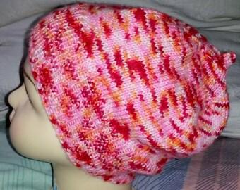 Cap for girls - multicolor - knitted - handmade - 20005