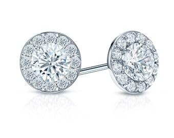 14k Gold Halo Round Diamond Stud Earrings 1.00 ct. tw. (H-I, I1)
