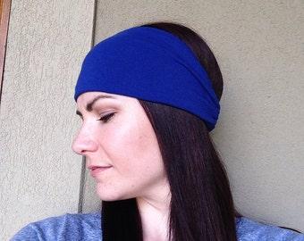 Royal Blue Fabric Headwrap, Headband, Blue Turban, Women's Headwrap, Bright Blue Headband, Running Headband, Stretch Headband