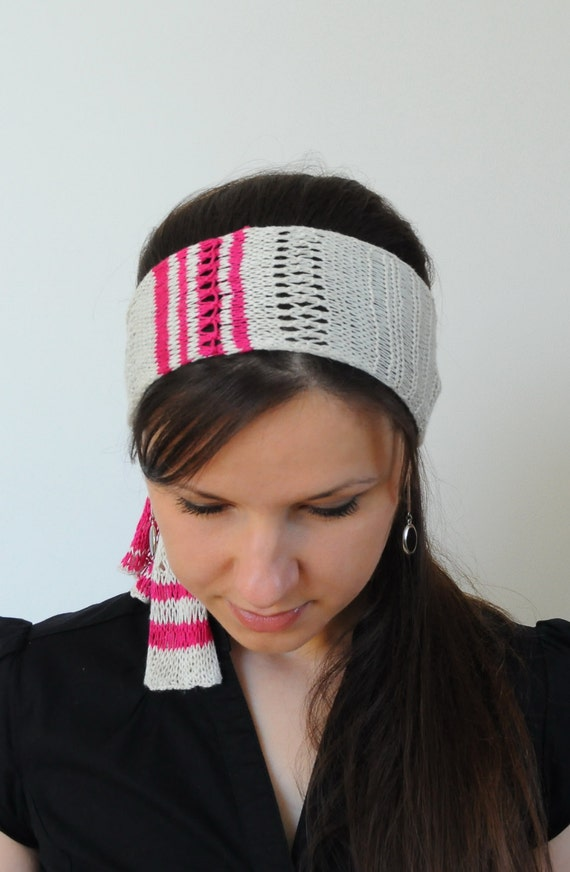 Knitted Head Scarf Pattern : Knit Head Scarf Hair Wrap Lace Summer Headband Hair