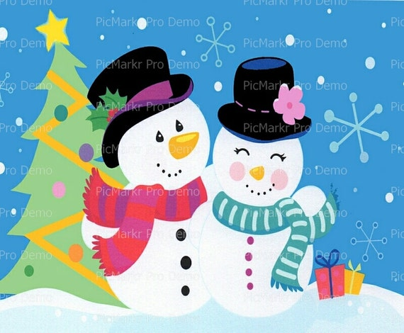 Christmas Mr. and Mrs. Snowman - Edible Cake and Cupcake Topper For Birthday's and Parties! - D2806
