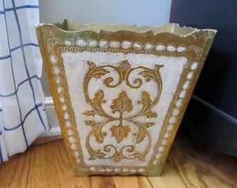Florentine Gold Gilded Wood Trash Can Waste Basket Italian