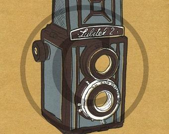 Screenprint of Lubitel 2 TLR Camera - Four Layer Screenprint, Dark Burgundy/Light Grey on Brown Heavyweight Art Paper
