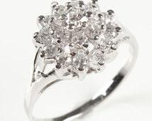 Vintage engagement ring diamond, Solitaire 14K White Gold Ring, 1 Carat, Women Jewelry, engagement ring setting