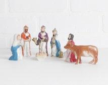 Vintage Christmas Nativity Set Figures, Nativity Creche Figures Set of Eight