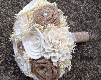 Rustic, Natural Burlap and Ivory Sola Flower Bride or Bridesmaid's Bouquet