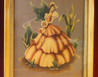 Vintage Turner Print of Southern Belle in Cream Colored Frame. 1940's, Cottage Chic, Shabby Chic