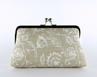 Bridesmaid Clutch, Wildflowers in Natural Clutch, Silk Lining, Bridesmaid Gift, Wedding clutch, Charcoal and Natural collection