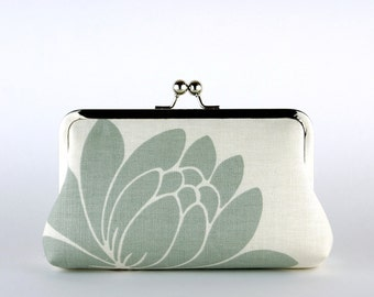 Bridesmaid Gift, Blue Lotus Clutch, Silk Lining, Bridesmaid Clutch, Wedding clutch