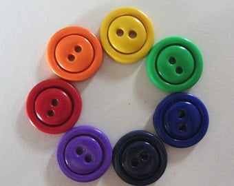Simple Rainbow Buttons ~ Set of 7