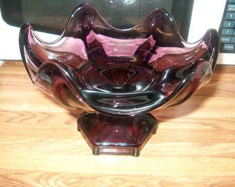 Vintage Purple Glass Compote, Quality, WAS 30.00 - 20% = 24.00