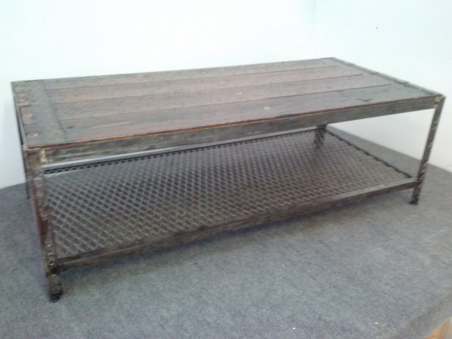 Industrial metal coffee table item036 for Coffee tables industrial