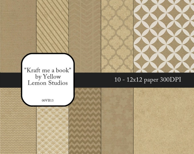 "INSTANT DOWNLOAD- Kraft paper prints tone on tone background Digital Scrapbooking Paper Pack, 12""x12"", 300 dpi .jpg"