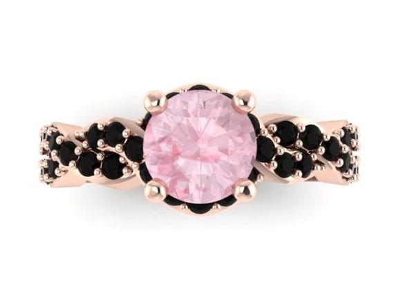 Black diamond morganite engagement ring wedding ring 14k rose gold